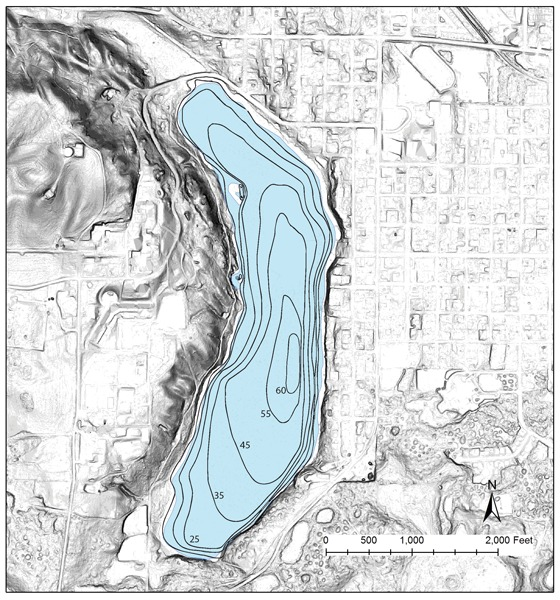 Slope Map of area around Medical Lake.  Bathymetry of the lake is in feet, 5 to 10 ft contours