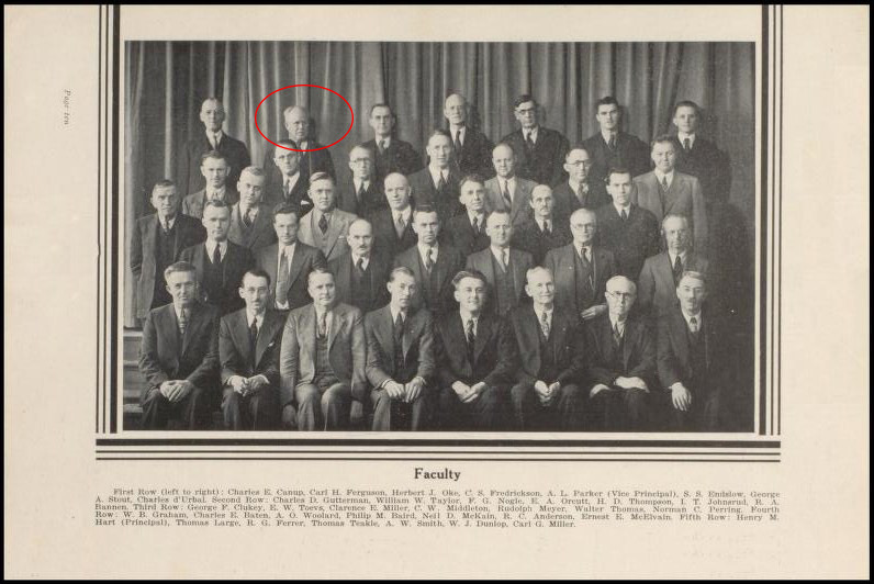 Photo of Male Faculty from Lewis and Clark HS from June 1936 Yearbook.