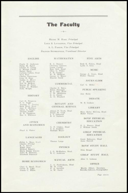 Faculty Roll from Lewis and Clark HS in June of 1934