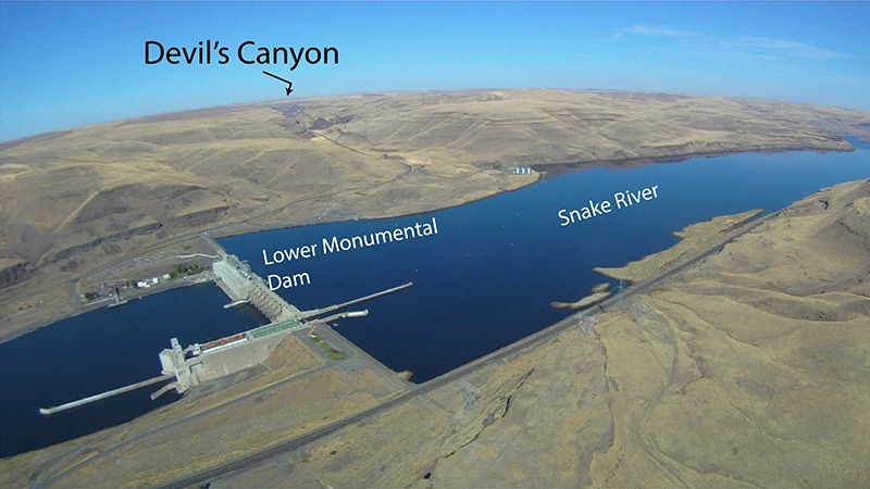 Aerial photograph looking north from the Snake River up the Devil's Canyon