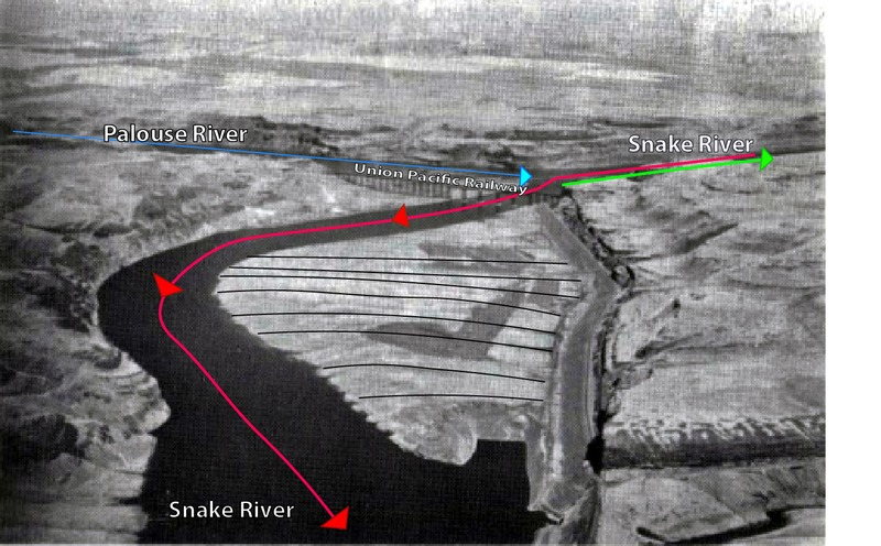 Fig. 2b. Map of gravel bars with flow direction of the Missoula Floods